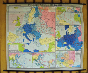 historical school map vintage rollable poster wall chart World War II