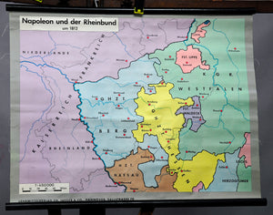 vintage history map rollable wall chart Napoleon Rhine Confederation 1812