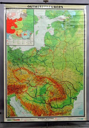 old East Central Europe relief map vintage wall chart art print decoration