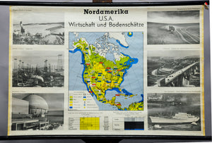 vintage map of North America USA economy mineral resources rollable poster print