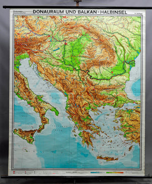 vintage geographical wall chart poster, map, Danube region, Balkan Peninsula