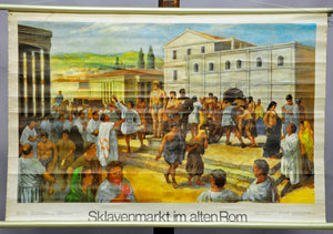 vintage rollable historical wall chart poster, slave market in the old Rome