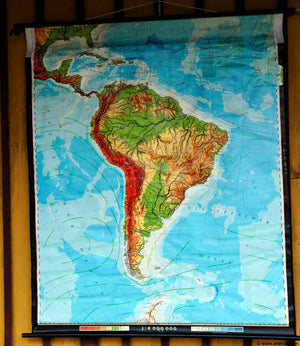 vintage rollable poster print wall chart decoration school map South America