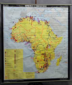 pull-down geographical wall chart poster, map, Africa industry decoration