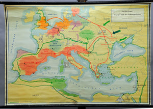 vintage historical wall chart, map, prehistoric times - Migration Period
