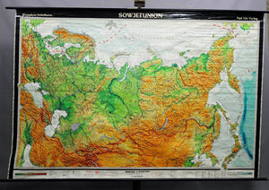 vintage poster rollable geographical wall chart, map, Soviet Union, physical