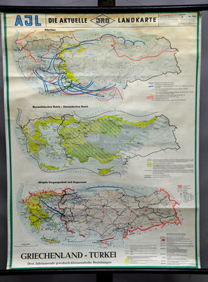 vintage rollable wall chart poster map Greece Turkey minor Asian relations