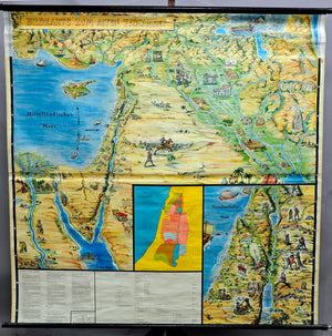 historical vintage map old testament pull-down picture wall chart decoration