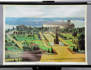 reservoir dam hydroelectric facility scenery Ukraine vintag wall chart decor