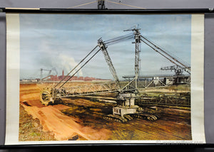 vintage rollable poster wall chart picture lignite mining industry crane