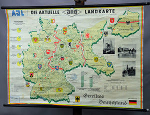 vintage wall chart picture poster history map Germany national socialism