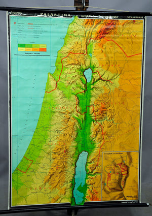 vintage map pull-down wall chart Palestine bible history present