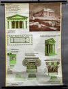 vintage poster rollable wall chart Greek architecture temples buildings