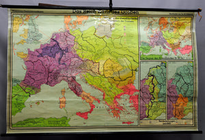 vintage wall chart picture, history, geography, map, empire, Charlemagne