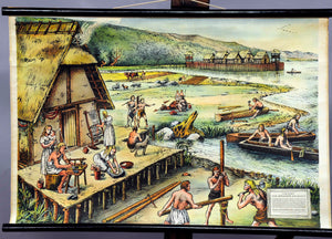 vintage wall chart picture poster, village, younger Stone Age, stilt houses