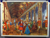 vintage double- sided poster french king Versailles palace construction site