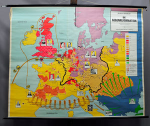 vintage poster rollable wall chart, geography, map, counter- Reformation