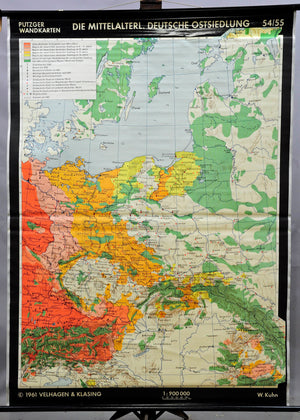 pull-down historical wall chart, map, medieval German eastward expansion