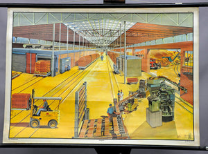 vintage picture poster wall chart, industry, building material, brickyard