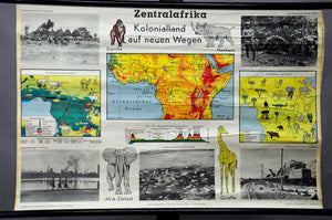 vintage poster rollable wall chart Central Africa Colonial landscape map