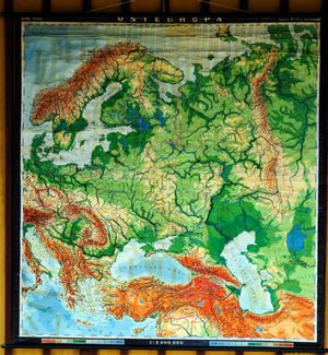 vintage school map rollable wall chart Eastern European countries