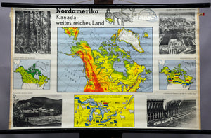 vintage rollable poster print wall chart North America Canada country landscape