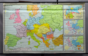 vintage poster rollable wall chart geographical map history of Europe 1871-1914