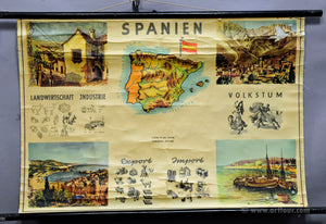 vintage rollable wall chart poster Spain map landscape culture economy lifestyle