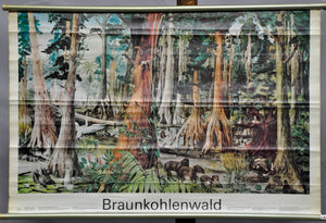 landscape animals industry brown coal forest vintage wall chart poster print