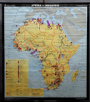 Africa mural map decoration vintage rollablel wall chart industry art print