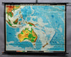 vintage map poster rollable wall chart map Australia Indonesia New Zealand