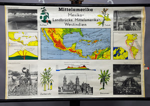 vintage poster map wall chart Central America Mexico black and white landscape
