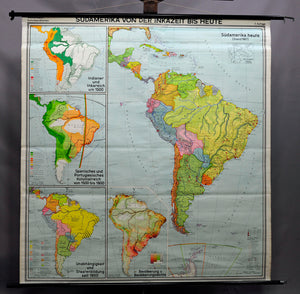 vintage poster rollable wall chart, map, South America Inca period, history