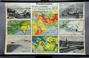 vintage pull-down wall chart poster map Middle East geography landscape culture