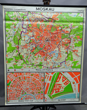 vintage rollable city map Moscow Russia retro wall chart