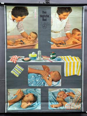 vintage pull down wall chart about the daily bath