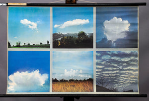 vintage pull-down wall chart poster cloud shape types weather formations