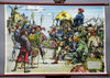 vintage rollable wall chart middle age knight F. Geyer peasants war fight