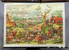 vintage picture rollable poster wall chart Thirty Years War Central Europe