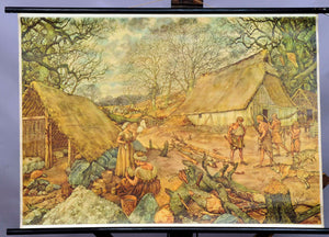 vintage rollable wall chart poster Teutons village life scenery craft hunt craft