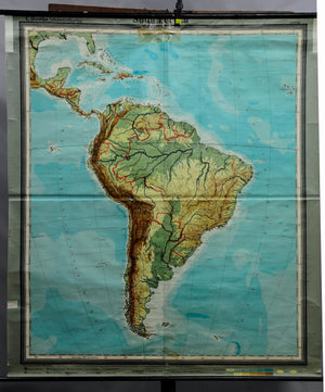 old rollable geographical wall chart poster, map, South America, physical