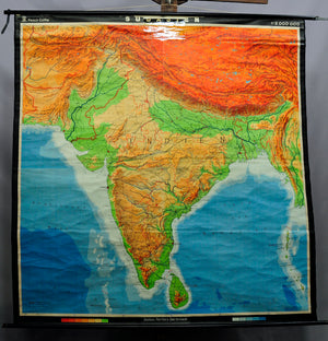 vintage poster print rollable wall chart map South Asia India