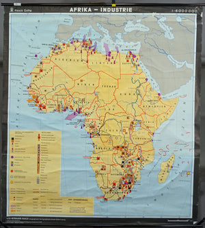 Africa vintage look mural map decoration industry wall chart poster print
