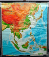vintage pull down map Southeast Asia China Japan