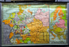 Vintage, pull down map, Central Europe, East Europe, Thirty Years' War