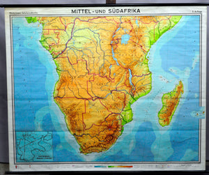 Vintage, pull down map, Central Africa, South Africa, Africa, African continent