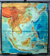 Vintage, pull down map, India, Asia, South-East Asia, islands