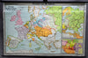 vintage pull down map Europe in the 18th century