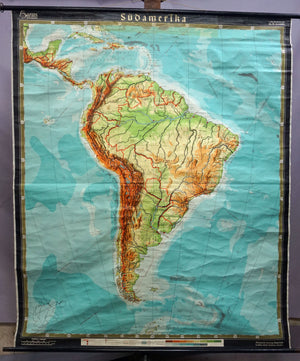 pull down map wall chart poster South America