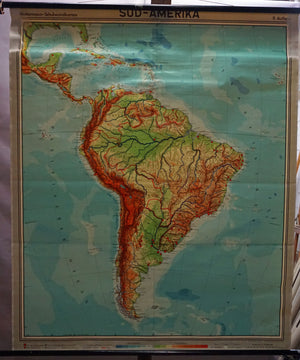 vintage pull down map South America wall chart poster